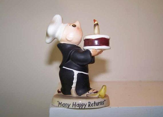 Vintage Brother Juniper Figurine Many Happy Returns Birthday Cake