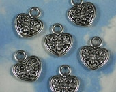10 Silver Heart Flower Charms Double Sided  - Great for Jewelry Weddings (P1242)