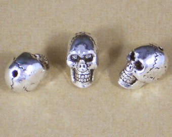 3 Skull 15mm Beads Silver Creepy Detailed 3D TOP Hole (P1311)