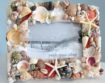 Seashell Frame Beach Decor - Nautical Decor Shell Frame w Starfish, 5x7