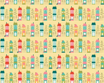 So happy together House Fabric by the Yard or Half Yard Fabric, or fat quarter, Cotton Fabric, houses fabric, 100% cotton fabric