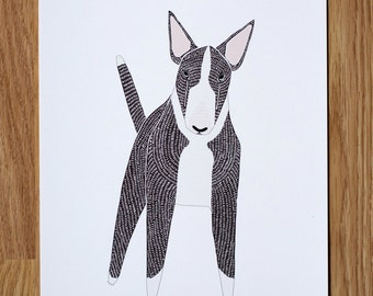 Terrier Wall Art, English Bull Terrier Illustration, Terrier Wall Print, Dog Illustration, Dog Portrait, Dog Lover, Personalized Pet Print