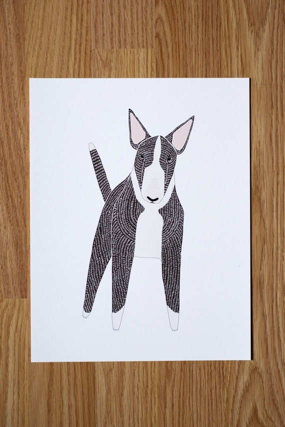 English Bull Terrier Illustration - FREE US SHIPPING