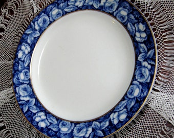 Vintage Flow Blue Plate Beauty Roses Blue White W H Grindley England 1910s