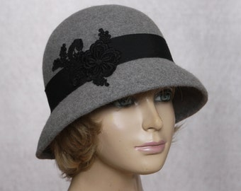 Tiffany, Fur Felt Cloche, millinery hat, Downton Abbey era, grey heather