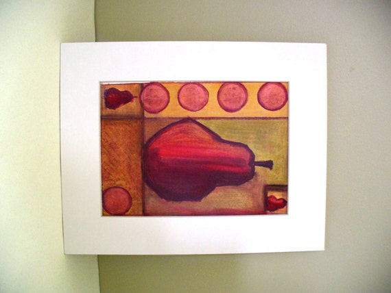 Kitchen Wall Decor In Red : Pear drawing red kitchen wall decor art on sale