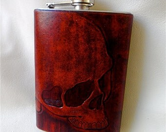 Red Death 8 oz Tooled Leather Flask