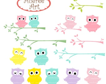 Owls clip art,cute owls and the branch 2 ,pink Owls,pink and blue owls,baby owls,color owls, invites cards, instant download