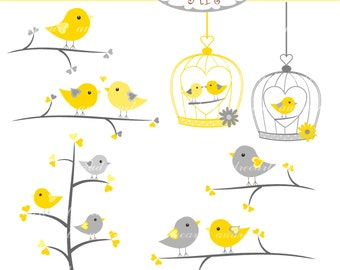 Bird Clip art,wedding clip art, love birds on branches, birds clip art, yellow and grey, instant download clip art