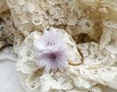 lilac spring bangle bracelet assemblage shabby chic