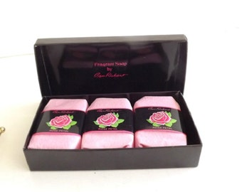 Vintage Ben Rickert Rose Petal Soap, Vintage Fragrance Gift Set, Unused and In Box, Perfume Collectible, Rose Fragrance Soap,
