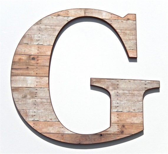 Items similar to rustic wooden letter g wood grain print for Letter g decoration