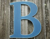 "24"" Wooden Letter Rustic Shabby Chic Uppercase Cottage Nursery Decor - Handpainted Distressed Wood Alphabet Wall Navy Blue Letter B"