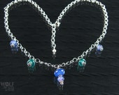 Glass Bead Necklace Blue and Teal Silver Plated