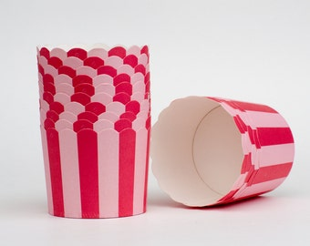 Small Pink Stripe Nut or Portion Paper Baking Cups with Scalloped Tops - Blossom Pink Hot Pink - set of 24