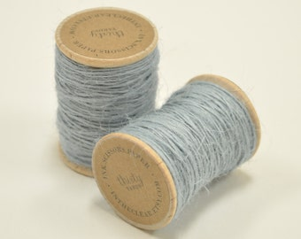 Burlap Twine - 30 Yards on Wooden Spool - Light Blue - Dusty Blue Color Jute