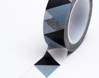 Washi Tape - 15mm - Black and Grey Triangle Bunting - Deco Paper Tape no. 617
