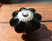 Drawer Knob / Cabinet Pull Ceramic Pumpkin in Black (CK34)
