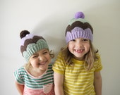 Girls Knitted Hat - SPECIAL OFFER for Pom-Pom Scallop Beanie - Soft Australian Wool - Made to Order