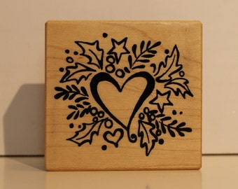 Holly and Hearts with Stars rubber stamp PSX