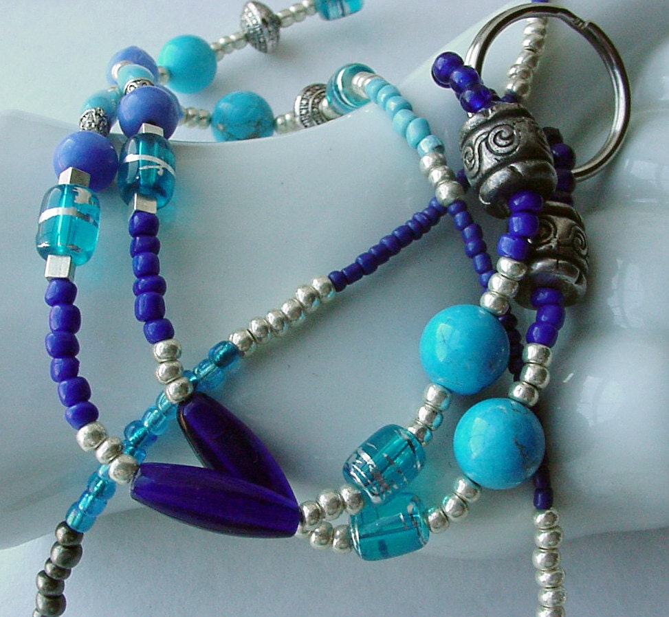 beaded id lanyard badge holder turquoise cobalt by