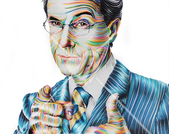 "Custom Portrait of Stephen Colbert - Print 14"" X 11"""