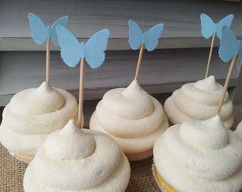 50 Mini Cupcake Toppers or Food Picks Butterfly Baby Shower, Wedding or Birthday Party