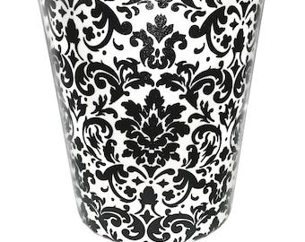 Black and White Damask Wastebasket - Trash Can