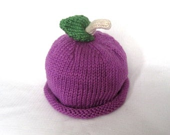 READY TO SHIP Purple Grape Hat, Knit Cotton and Modal Fruit Baby Hat, photo prop, Boston Beanies