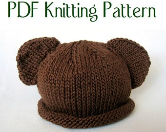 Baby Bear Hat pattern, knit, Boston Beanies