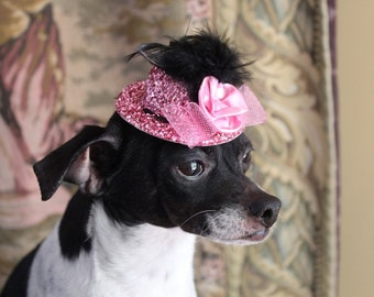 Cute pink color  mini  hat with   feather and flower  for dog or cat