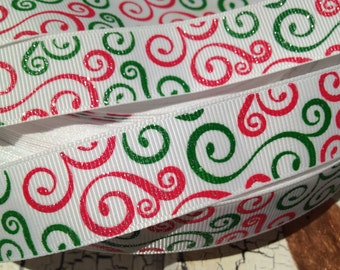 "3 YARDS 7/8"" Christmas Glitter Swirl Red and Green on White grosgrain"