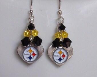 Pittsburgh Steelers Earrings, Steelers Bling, Black and Gold Crystal Pro Football Earrings, Steelers Football Accessory Fanwear