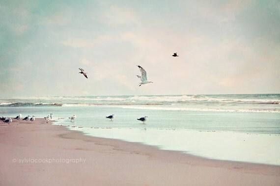 """Ocean photography,Beach home decor, """"Take off"""" ocean, seashore, summer decor, beach photography,seagulls,birds,seabirds,aqua,blue,sky,clouds"""