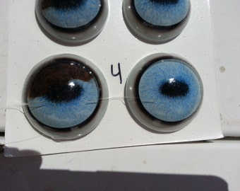 NEW Pair of Flecked Baby Blue and Piebald Brown Horizontal Pupil Glass Taxidermy Eyes- For Horse or Unicorn 40/50mm Lot No. 0713-4