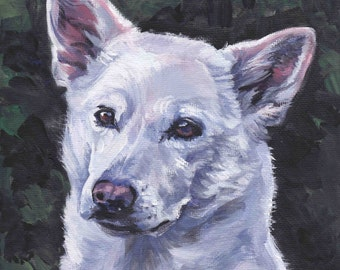 Canaan dog art CANVAS print of LA Shepard painting 8x8 dog portrait