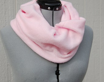 Solid Light Pink Infinity Fleece Scarf