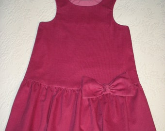 Flapper Style Jumper in Rose Corduroy,  Girls size 6,  Ready to Ship.