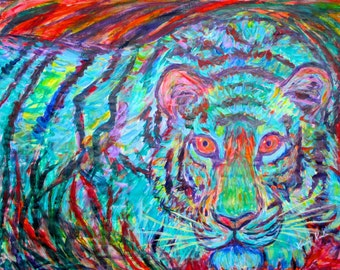 Blue Tiger Art 16x20 Expressionist Acrylic painting by Award Winning Artist Kendall Kessler