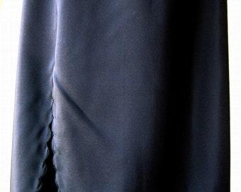 Slip Vintage Lingerie Negligee Half Skirt Length Smooth Slit Black Scalloped hem