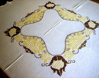 Embroidered Vintage TABLECLOTH White Scalloped LINEN Brown Yellow Work Flowers