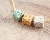 Necklace Lava Stone Cube Mint Green Yellow Cream White Modern Geometric Jewelry boho urban minimal chic