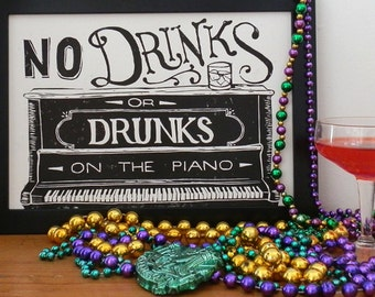 New Orleans Piano Drunks Linocut - No Drinks Sign, Bar Sign, Cocktail Print, New Orleans Art, NOLA Art, Pianist, Musical Print, Funny Sign