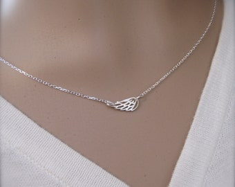 Angel wing necklace - Dainty silver wing, Guardian angel wing, Sterling silver wing necklace, Choker style - Photo NOT actual size