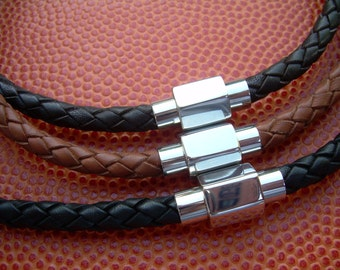 Mens Leather Necklace with Hexagon Stainless Steel Magnetic Clasp, Leather Necklace, Mens Necklace, Mens Jewelry