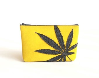 "Cannabis Mini Clutch - Pot Leaf Pouch : Charcoal Gray Marijuana Leaf Silhouette on Sunny Yellow - ""Sweet Sunshine"""