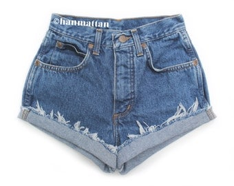 "ALL SIZES ""CLASSIC"" Vintage high-waisted denim shorts blue cuffed rolled folded turn up jeans"