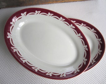 Vintage Maroon Scallop Scroll Pattern Oval Restaurant Platters Cosmopolitan by Wellsville China