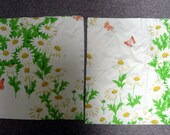 Two 1970s Daisy and Butterfly Pillow Cases. Rubber Backed Fabric.  Ready to Stuff or Repurpose