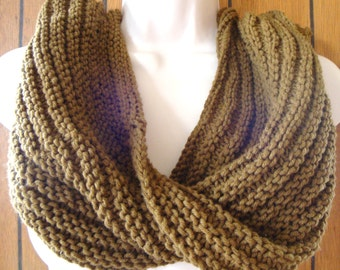 Knit Infinity Scarf, Cowl Chunky Brown